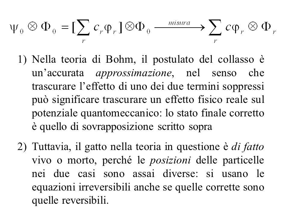 Nella teoria di Bohm, il postulato del collasso è un'accurata approssimazione, nel senso che trascurare l'effetto di uno dei due termini soppressi può significare trascurare un effetto fisico reale sul potenziale quantomeccanico: lo stato finale corretto è quello di sovrapposizione scritto sopra