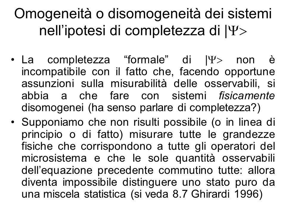 Omogeneità o disomogeneità dei sistemi nell'ipotesi di completezza di |Y>