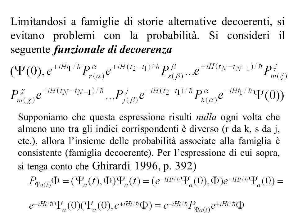 Limitandosi a famiglie di storie alternative decoerenti, si evitano problemi con la probabilità. Si consideri il seguente funzionale di decoerenza