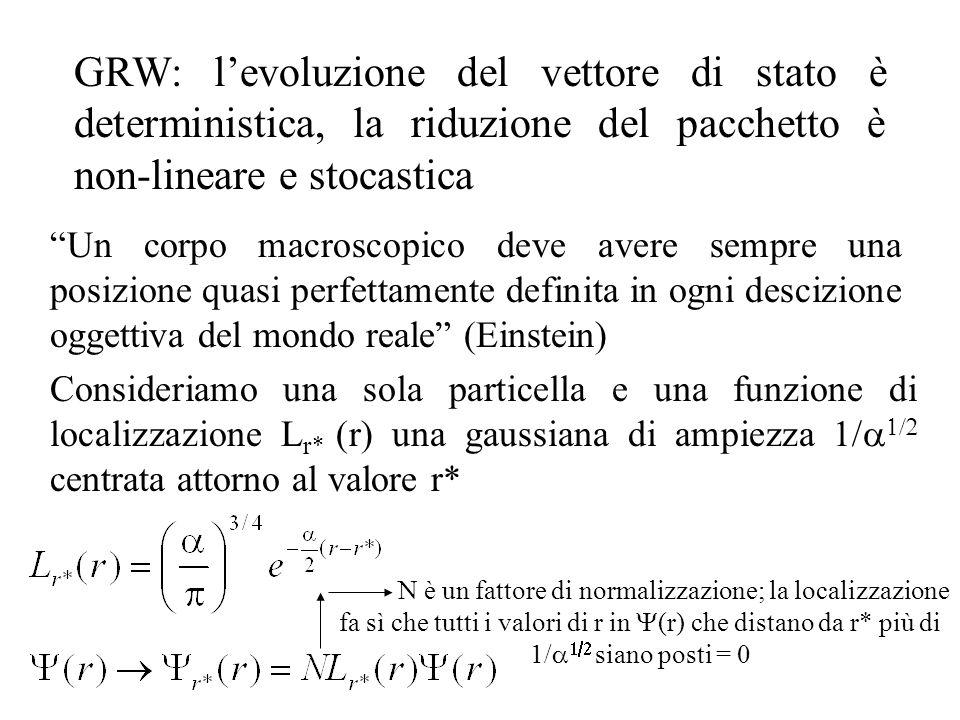 GRW: l'evoluzione del vettore di stato è deterministica, la riduzione del pacchetto è non-lineare e stocastica