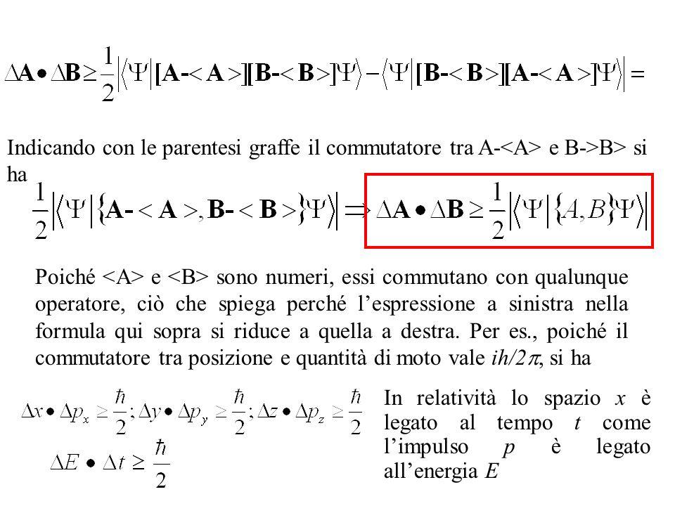 Indicando con le parentesi graffe il commutatore tra A-<A> e B->B> si ha