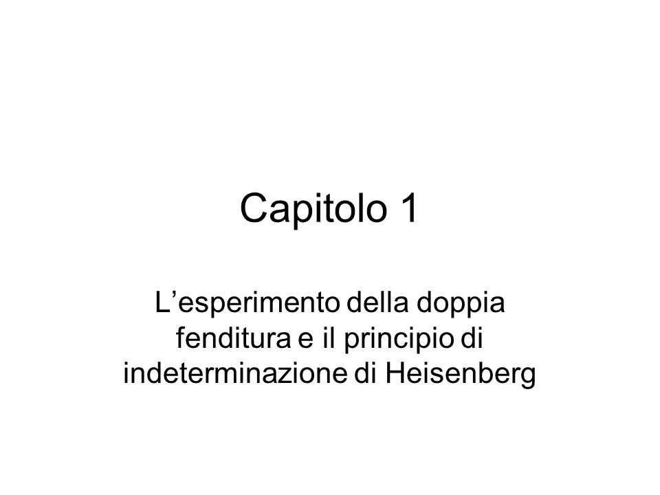 Capitolo 1 L'esperimento della doppia fenditura e il principio di indeterminazione di Heisenberg