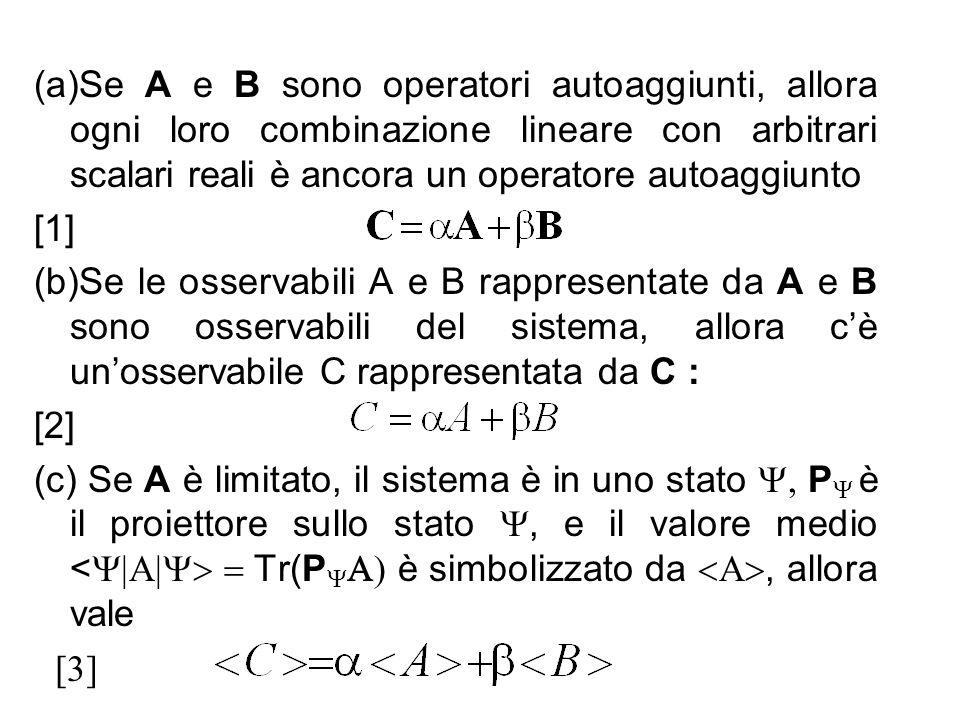 (a)Se A e B sono operatori autoaggiunti, allora ogni loro combinazione lineare con arbitrari scalari reali è ancora un operatore autoaggiunto