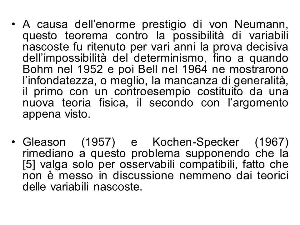 A causa dell'enorme prestigio di von Neumann, questo teorema contro la possibilità di variabili nascoste fu ritenuto per vari anni la prova decisiva dell'impossibilità del determinismo, fino a quando Bohm nel 1952 e poi Bell nel 1964 ne mostrarono l'infondatezza, o meglio, la mancanza di generalità, il primo con un controesempio costituito da una nuova teoria fisica, il secondo con l'argomento appena visto.