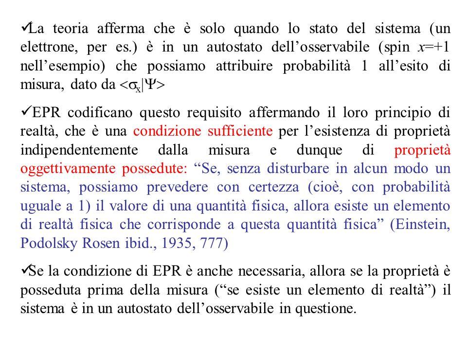 La teoria afferma che è solo quando lo stato del sistema (un elettrone, per es.) è in un autostato dell'osservabile (spin x=+1 nell'esempio) che possiamo attribuire probabilità 1 all'esito di misura, dato da <sx|Y>