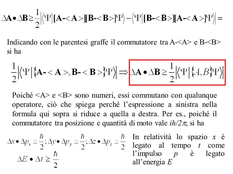 Indicando con le parentesi graffe il commutatore tra A-<A> e B-<B> si ha