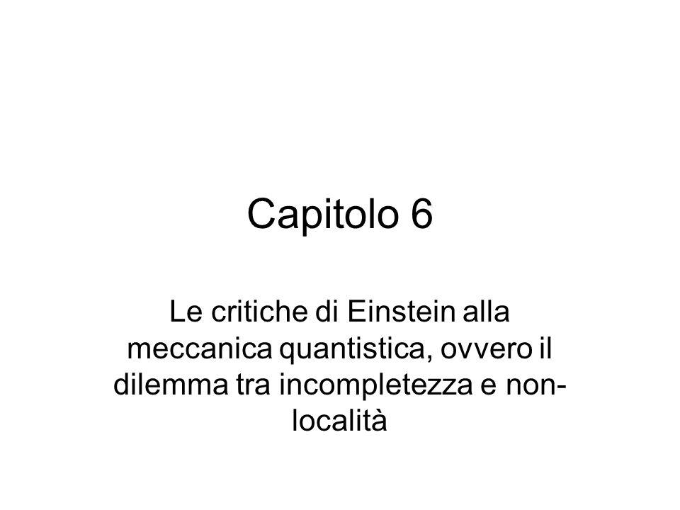 Capitolo 6Le critiche di Einstein alla meccanica quantistica, ovvero il dilemma tra incompletezza e non-località.