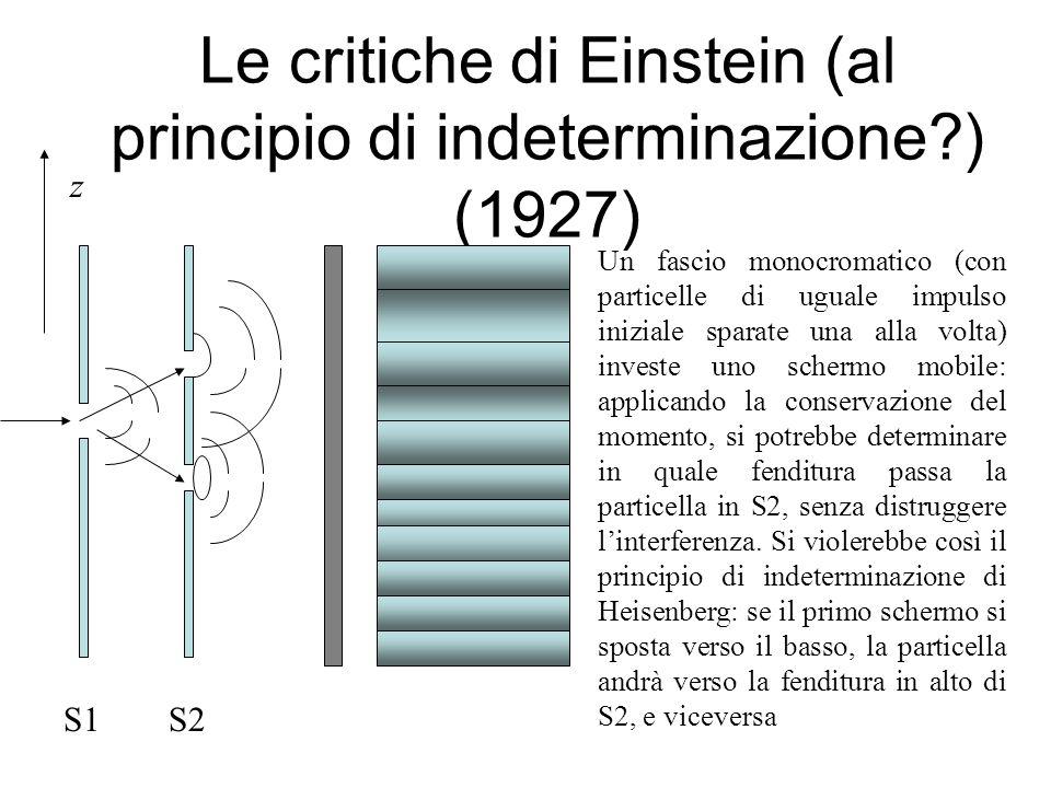 Le critiche di Einstein (al principio di indeterminazione ) (1927)