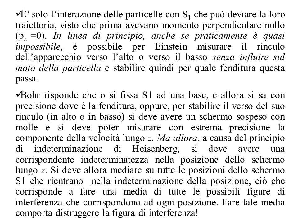 E' solo l'interazione delle particelle con S1 che può deviare la loro traiettoria, visto che prima avevano momento perpendicolare nullo (pz =0). In linea di principio, anche se praticamente è quasi impossibile, è possibile per Einstein misurare il rinculo dell'apparecchio verso l'alto o verso il basso senza influire sul moto della particella e stabilire quindi per quale fenditura questa passa.