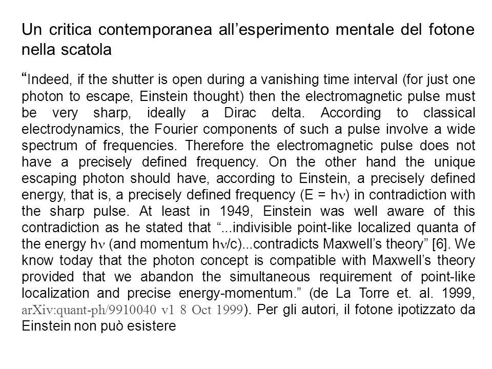 Un critica contemporanea all'esperimento mentale del fotone nella scatola