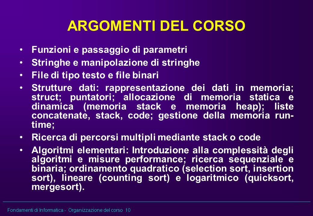 ARGOMENTI DEL CORSO Funzioni e passaggio di parametri