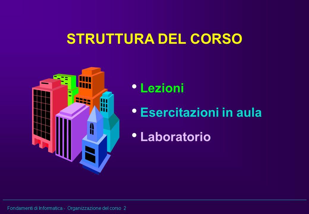 STRUTTURA DEL CORSO Lezioni Esercitazioni in aula Laboratorio