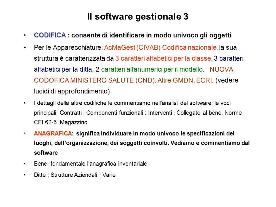 Il software gestionale 3