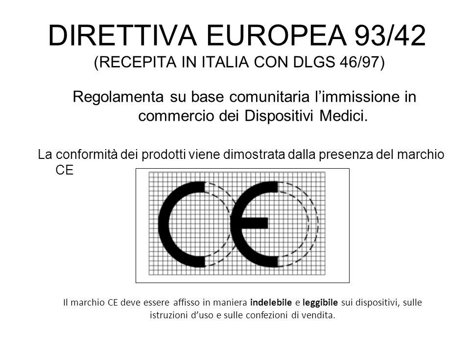 DIRETTIVA EUROPEA 93/42 (RECEPITA IN ITALIA CON DLGS 46/97)