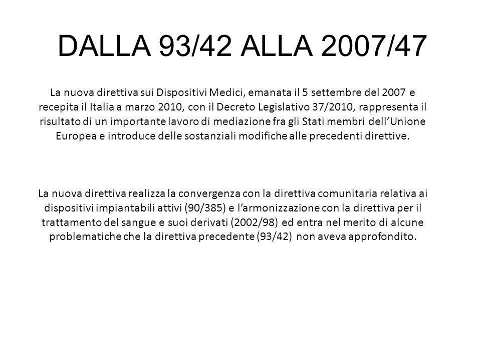 DALLA 93/42 ALLA 2007/47