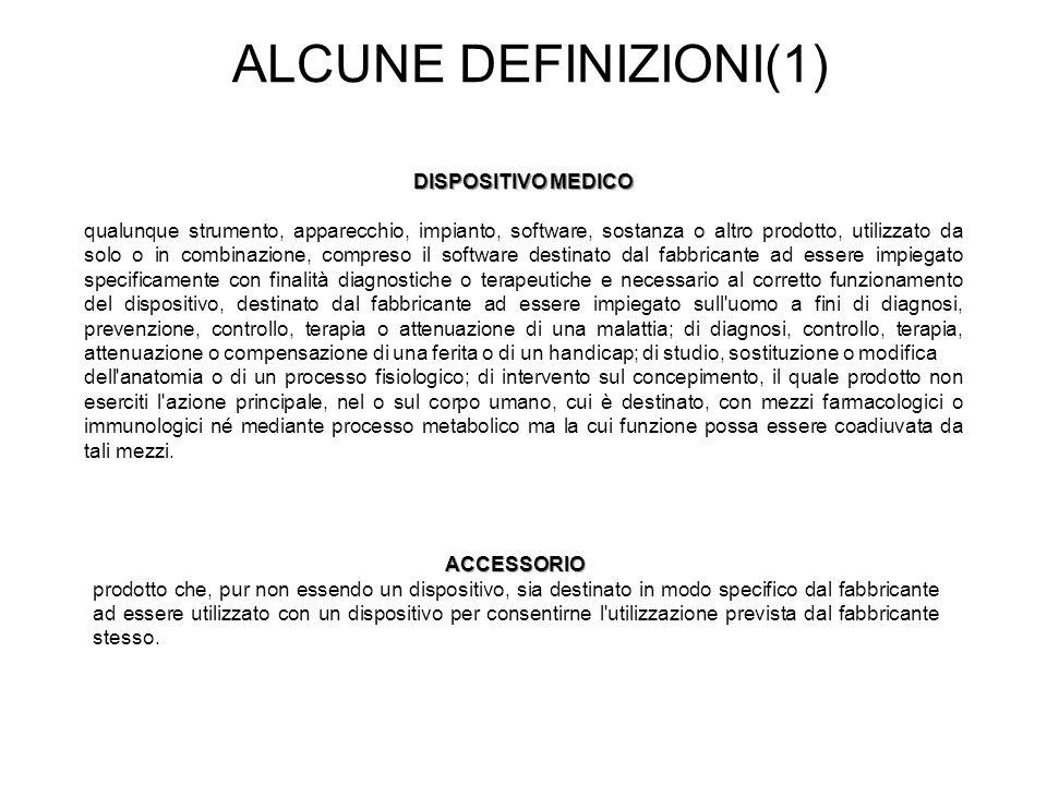 ALCUNE DEFINIZIONI(1) DISPOSITIVO MEDICO