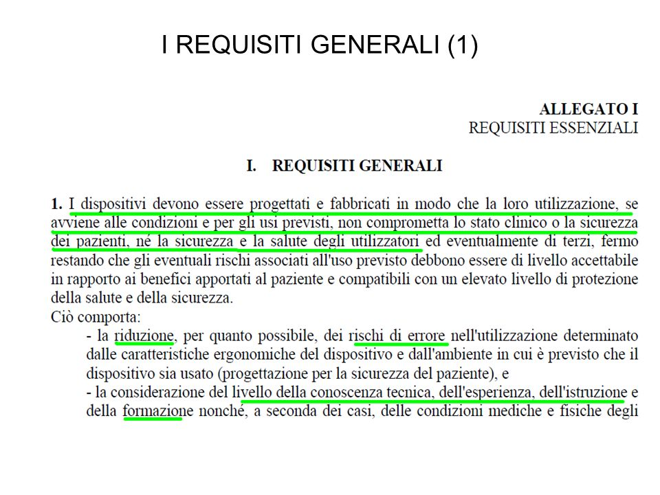 I REQUISITI GENERALI (1)