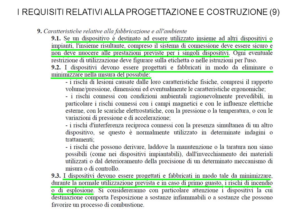 I REQUISITI RELATIVI ALLA PROGETTAZIONE E COSTRUZIONE (9)