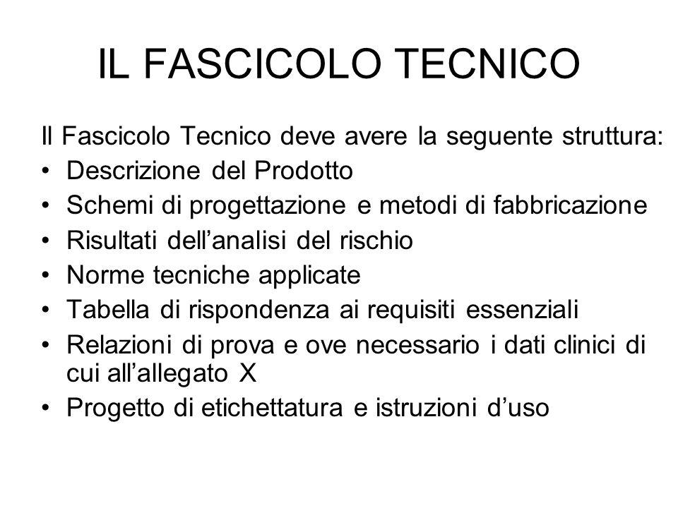 IL FASCICOLO TECNICO Il Fascicolo Tecnico deve avere la seguente struttura: Descrizione del Prodotto.