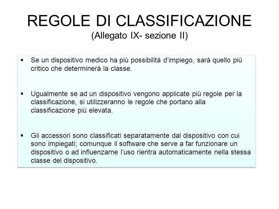 REGOLE DI CLASSIFICAZIONE (Allegato IX- sezione II)