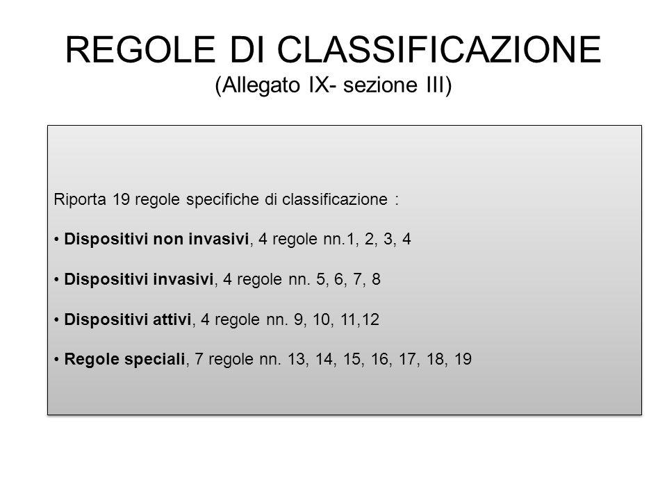 REGOLE DI CLASSIFICAZIONE (Allegato IX- sezione III)