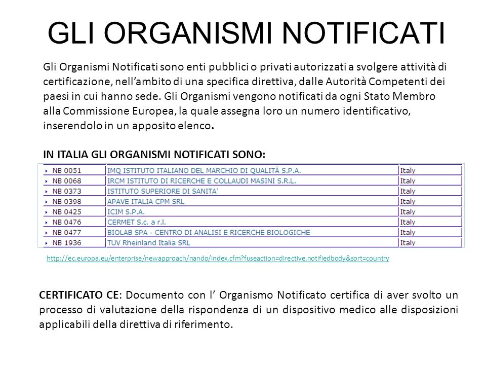 GLI ORGANISMI NOTIFICATI