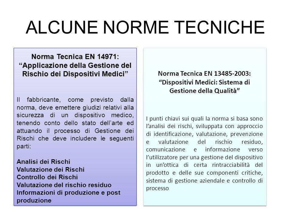 ALCUNE NORME TECNICHE Norma Tecnica EN 14971: