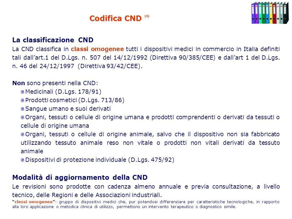 Codifica CND (4) La classificazione CND