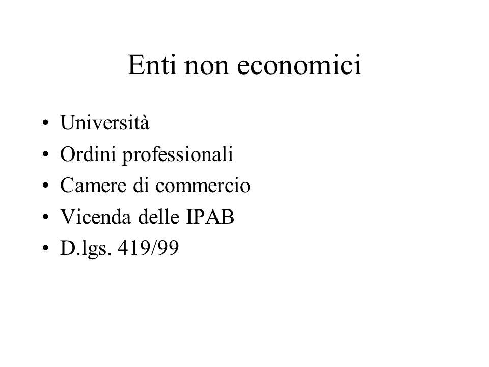 Enti non economici Università Ordini professionali Camere di commercio