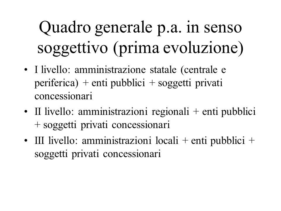 Quadro generale p.a. in senso soggettivo (prima evoluzione)