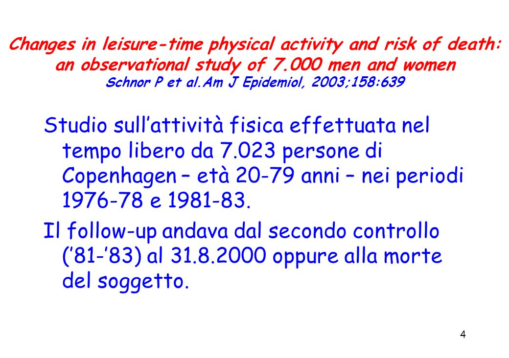 Changes in leisure-time physical activity and risk of death: an observational study of 7.000 men and women Schnor P et al.Am J Epidemiol, 2003;158:639