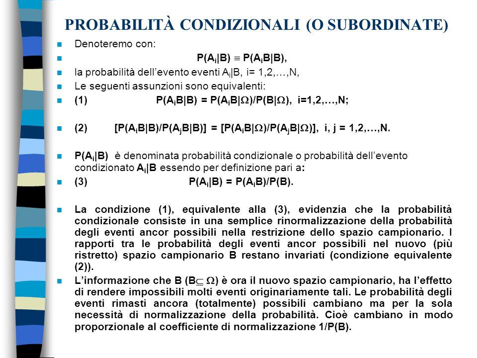 PROBABILITÀ CONDIZIONALI (O SUBORDINATE)