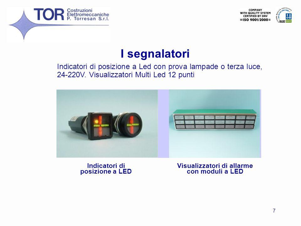 I segnalatori Indicatori di posizione a Led con prova lampade o terza luce, 24-220V. Visualizzatori Multi Led 12 punti.