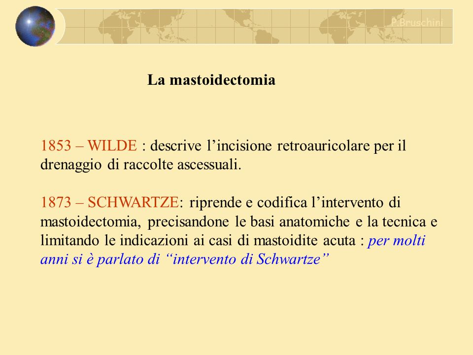 P.Bruschini La mastoidectomia. 1853 – WILDE : descrive l'incisione retroauricolare per il drenaggio di raccolte ascessuali.
