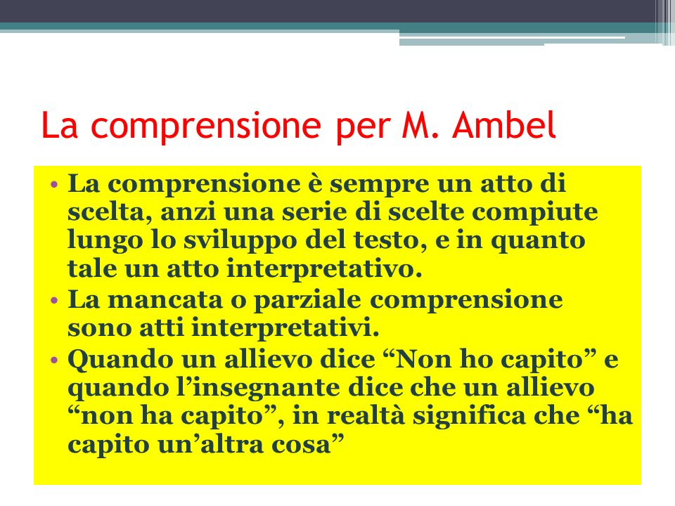 La comprensione per M. Ambel