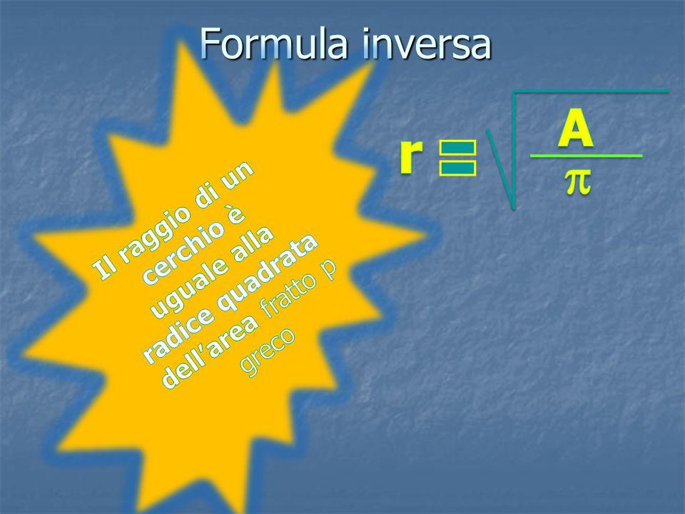 Formula inversa Il raggio di un cerchio è uguale alla radice quadrata dell'area fratto p greco. A.