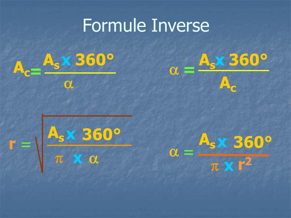 Formule Inverse As x 360° As x 360° Ac a = = a Ac As x 360° As x r