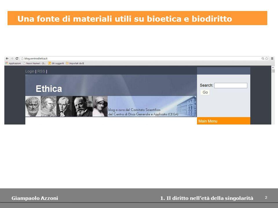 Una fonte di materiali utili su bioetica e biodiritto