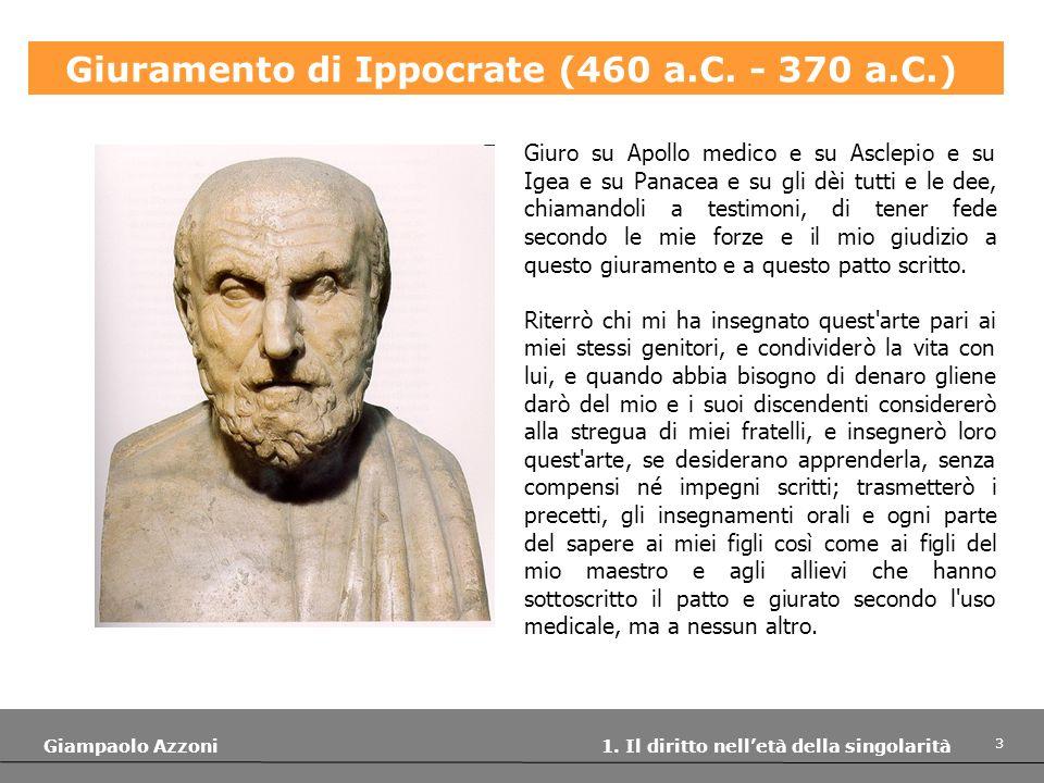 Giuramento di Ippocrate (460 a.C. - 370 a.C.)
