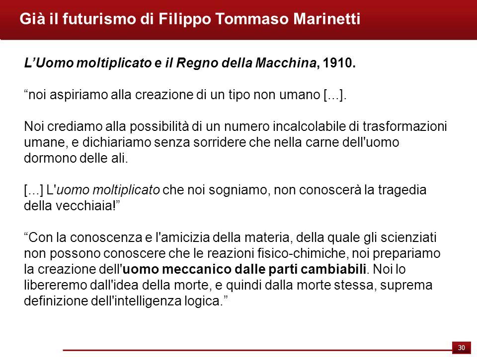 Già il futurismo di Filippo Tommaso Marinetti