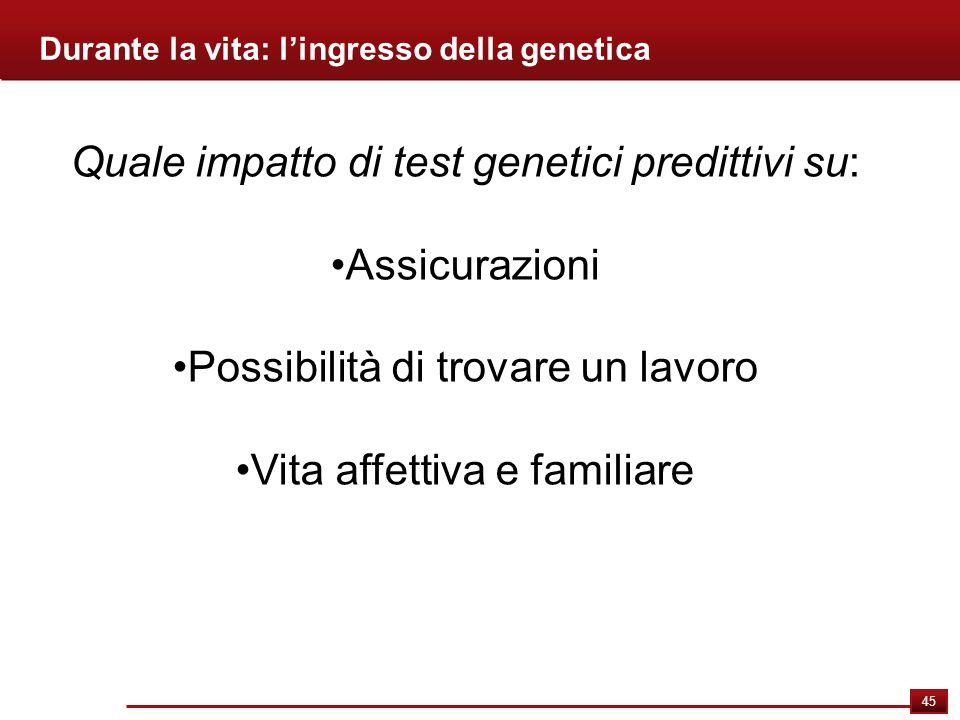 Quale impatto di test genetici predittivi su: Assicurazioni