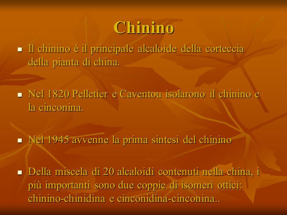 Chinino Il chinino è il principale alcaloide della corteccia della pianta di china.