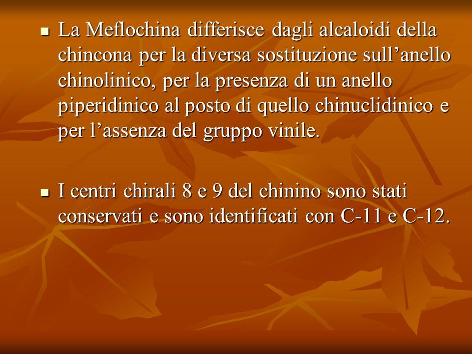 La Meflochina differisce dagli alcaloidi della chincona per la diversa sostituzione sull'anello chinolinico, per la presenza di un anello piperidinico al posto di quello chinuclidinico e per l'assenza del gruppo vinile.