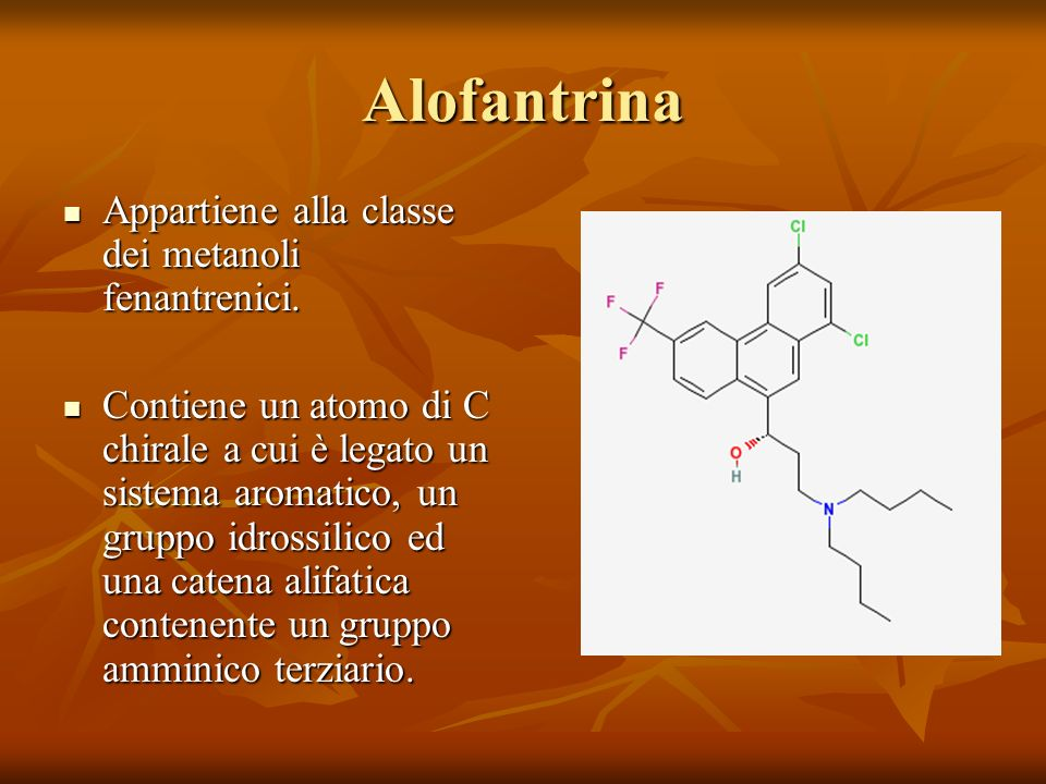Alofantrina Appartiene alla classe dei metanoli fenantrenici.