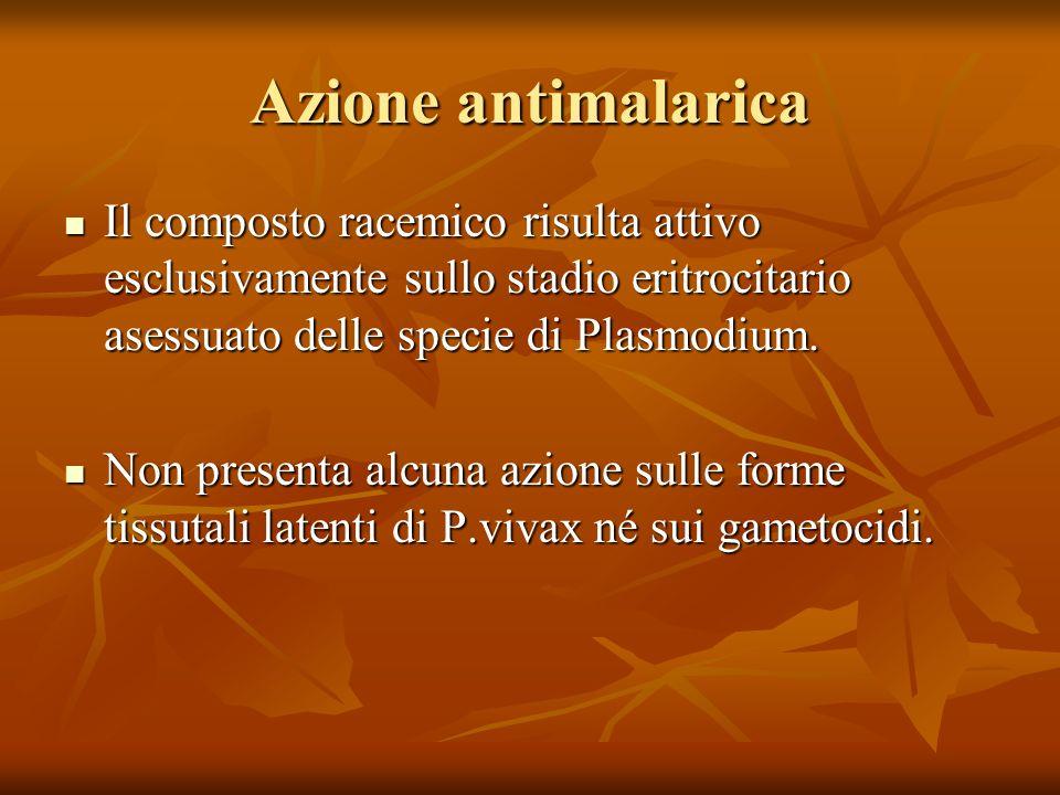 Azione antimalarica Il composto racemico risulta attivo esclusivamente sullo stadio eritrocitario asessuato delle specie di Plasmodium.