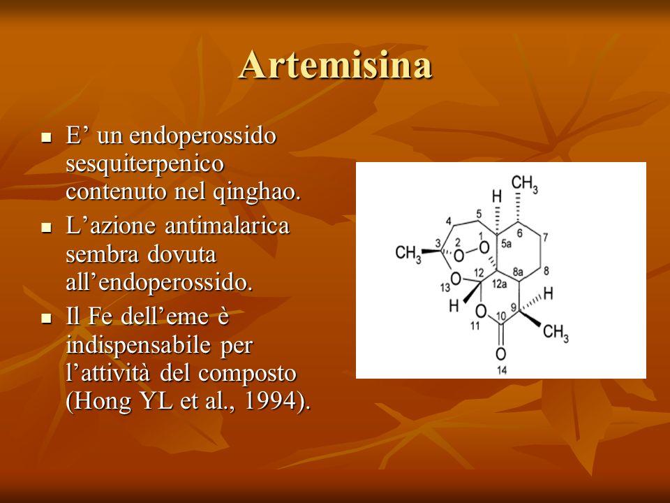 Artemisina E' un endoperossido sesquiterpenico contenuto nel qinghao.