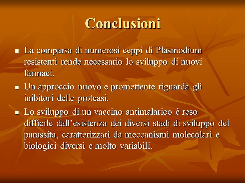 Conclusioni La comparsa di numerosi ceppi di Plasmodium resistenti rende necessario lo sviluppo di nuovi farmaci.