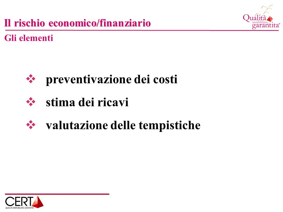 preventivazione dei costi stima dei ricavi