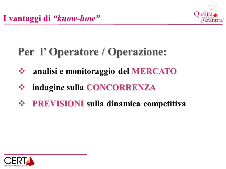 Per l' Operatore / Operazione: