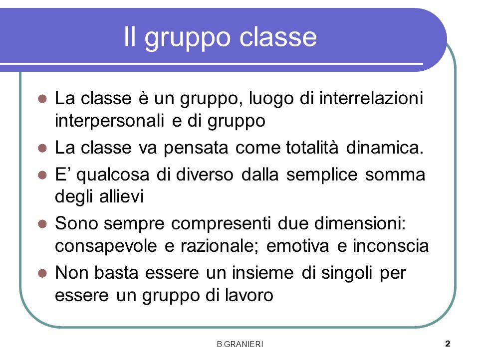 Il gruppo classeLa classe è un gruppo, luogo di interrelazioni interpersonali e di gruppo. La classe va pensata come totalità dinamica.